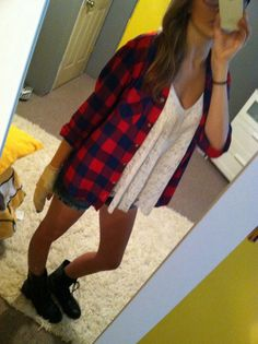 Plaid Lace shorts combat boots Ignore my hand