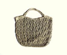 Market tote bag, crocheted tote bag, linen