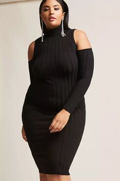 Product Name:Plus Size Ribbed Open-Shoulder Dress, Category:CLEARANCE_ZERO, Price:35