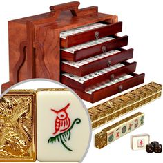 American Mahjong Set with Five Layer Case - ''Golden Dragon''