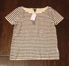 J. Crew Sequin Stripe Tee Top Size XS,S,M,L
