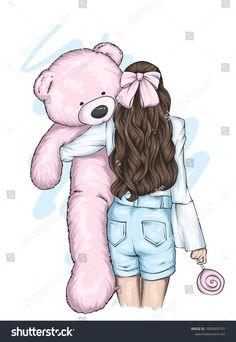Girl Beautiful Hair Teddy Bear Love Stock Vector (Royalty Free) 1850500741 Unicornios Wallpaper, Wallpaper Iphone Cute, Cute Wallpapers, Pencil Drawing Images, Abstract Pencil Drawings, Cute Cartoon Girl, Cartoon Girl Drawing, Girly Drawings, Art Drawings For Kids