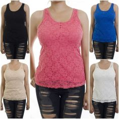 ebclo - Basic & Comfy FLORAL LACE Front Tank Top Sleeveless Racer-Back Tee NEW $12.00 Free Domestic Shipping