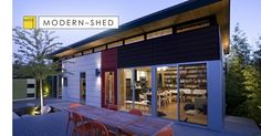 The Prefab Dwelling Shed Compound was build as a recreational family getaway. It also serves as a showcase for Modern-Shed products, designs and concepts. Prefab Homes, Modular Homes, Cool Sheds, Backyard Office, Backyard Studio, Custom Sheds, Warehouse Design, Modern Shed, Indoor Outdoor Living