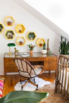 A Colorful Bohemian Craftsman Bungalow in New Haven - The Nordroom All You Need Is, Bohemian Apartment, Green Kitchen Cabinets, Geometric Shelves, Chic Wallpaper, Craftsman Bungalows, Craftsman Bungalow Decor, Craftsman Kitchen, Unique Furniture