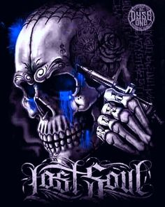 Skulls and Skeletons: Lost Soul. Skull Tattoo Design, Skull Tattoos, Body Art Tattoos, Chicano Tattoos, Cholo Art, Chicano Art, Aztecas Art, Grim Reaper Art, Badass Skulls