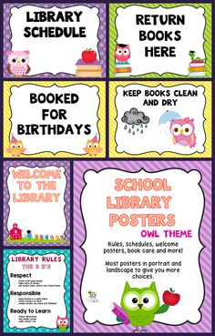 Decorate your library with this set of cute owl posters. There are over 100 pages of posters. The posters come in landscape and portrait orientation and with 2 different backgrounds (stripes and dots). I have also included a set of editable PowerPoint files so you can add your own text.