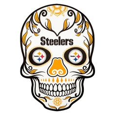 Applied Icon NFL Pittsburgh Steelers Outdoor Skull Graphic- Large - The Home Depot - Pamukkus Pittsburgh Steelers Wallpaper, Pittsburgh Steelers Football, Dallas Cowboys, Pittsburgh Penguins, Outside Fans, Caveira Mexicana Tattoo, Steelers Tattoos, Pro Football Teams, Patriots