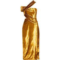 Jason Wu One-shoulder cutout velvet midi dress ($2,810) ❤ liked on Polyvore featuring dresses, jason wu, gold, brown dress, cut out midi dress, one shoulder midi dress, velvet wrap dress and wrap dress