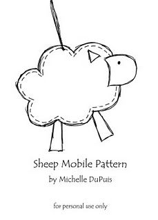 sheep mobile pattern.  I'd needle felt this little guy and make a brooch or Xmas ornament.