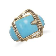 Turquoise Bronze Buckle Ring