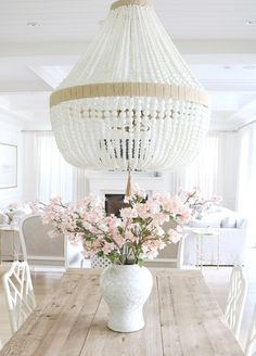 Dining room lighting is Ro Sham Beaux Orbit- White Milk beads. Dining room lighting is Ro Sham Beaux Coastal Bedrooms, Coastal Living Rooms, Beaded Chandelier, White Chandelier, Nursery Chandelier, Dining Chandelier, Coastal Chandelier, Chandelier Ideas, Modern Dining Table