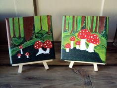 Set of Two Woodland Mushroom Paintings - Red and White Toadstools in Enchanted Fairy Forest - Rustic Wall Art - Fungi Decor. $60.00, via Etsy.