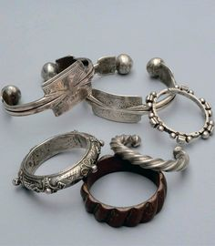 Bracelets and anklets from North Africa; silver, enamel and bronze alloy