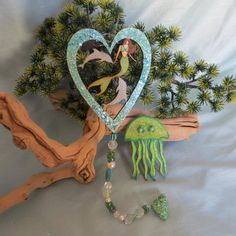 Mermaid and dolphin beaded ornament with bonus jelly fish ornament_beach decor and gifts