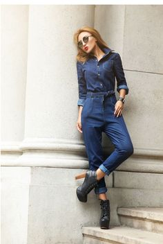 """Women's full sleeve casual loose denim jumpsuits"" Petite Jumpsuit, Fitted Jumpsuit, Denim Jumpsuit, All White Romper, Black Long Sleeve Romper, Classy Aesthetic, Boiler Suit, Playsuits, Jumpsuits For Women"