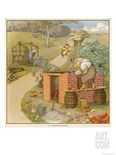 The Three Pigs Build Their Respective Houses out of Bricks Straw and Sticks Giclee Print at Art.com