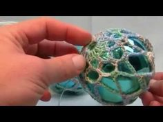 """As promised in the video, the size of the ball I used was ..."""" in diameter. You can use smaller balls, you just need to alter the last line to make the chains smaller to compensate for less distance to cover over the ball. Free Written pattern is availabl. Crochet, How, Christmas,..."""