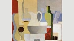 Still Life With Glass of Red Wine by Amédée Ozenfant, 1921 -- Purism -- (1918 - 1925). Where Cubists would merrily smash to smithereens the simplest bottle of red, the Purists saw the world as archetypally intact and brought to the table something reliably solid instead.
