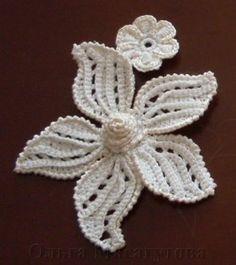 Большой цветок крючком. Мастер-класс.flor de cinco petalas