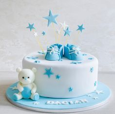 Torta Baby Shower, Baby Shower Cakes For Boys, Baby Boy Cakes, Baby Shower Decorations For Boys, Christening Cake Designs, Baby Boy Christening Cake, Toddler Birthday Cakes, Baby Boy Birthday Cake, Gateau Baby Shower Garcon