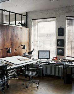 drafting table - work space - home office Interior Desing, Interior Architecture, Interior Ideas, Home Office Design, House Design, Design Design, Office Style, Design Ideas, Workspace Desk