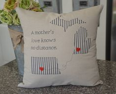 Excited to share the latest addition to my #etsy shop: 2 state pillow - A mothers love - 18 x 18 Pillow - A mother's love - custom pillow - ticking cloth - Mother's day - Father's day http://etsy.me/2i0EKgF #housewares #pillow #square #entryway #coveronly #statepillow #puremichig
