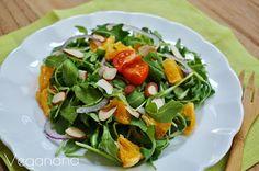 Salada de Rúcula com Laranja e Amêndoas - Veganana