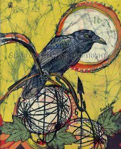 Crow Insight batik by Janet Searfoss Crow Art, Raven Art, Bird Art, Fabric Painting, Fabric Art, Fabric Birds, Batik Art, Tinta China, Textiles