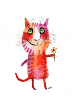 cat illustration / Etsy