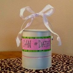 """""""Can of Dates"""" bridal shower activity/gift for the couple. Guests write down date ideas for the couple that they can affordably do for the first year of marriage."""