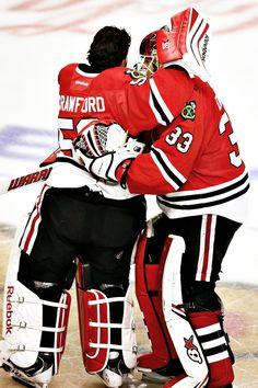 Goalie love. #chicago #blackhawks