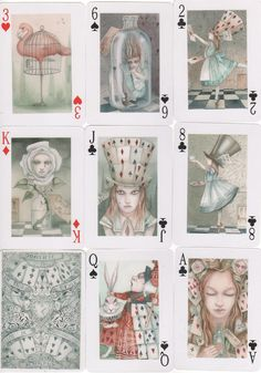 Alice in Wonderland Art Playing Cards Dodo Cheshire Cat Flamingo Dormouse Hatter