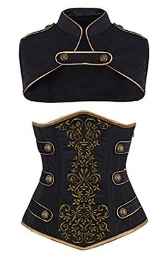 "Camellias Women's Steel Boned Tamra Velvet Steampunk Corset, Side note- have the buttons as ""X"" and have it as an ""X-Men"" outfit with a solid color (Red? Steampunk Accessoires, Mode Steampunk, Steampunk Costume, Steampunk Clothing, Steampunk Fashion Women, Steampunk Shoes, Cool Outfits, Fashion Outfits, Fashion Goth"