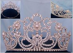 Adjustable Rhinestone Silver Savoy pearl crown tiara - Crown Designers - Rhinestone Crowns, Tiaras & Scepters