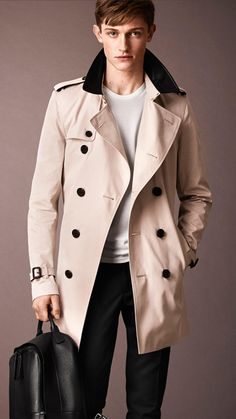 Burberry Cotton Gabardine Leather Collar Trench Coat in Beige for ...