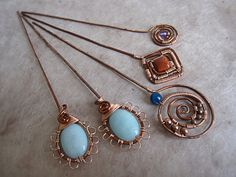 Copper+wire+wrapped++hair/shawl+pins+with+by+StabuLaRasaJewelry