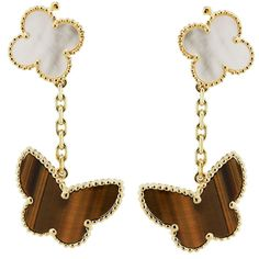 VAN CLEEF AND ARPELS Lucky Alhambra Tigers Eye Butterfly Earring