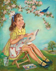 Girl painting bluebird. Mabel Rollins Harris.  Harris did calendar work for Brown & Bigelow, starting in 1933 with a commission for a sentimental subject entitled Blue Heaven. She continued to work on such non-pin-up themes, where her series depicting young girls in idyllic gardens was a great success.  Because of the special softness of Harris' pastels, her work was extremely popular in the mainstream illustration and publishing community.