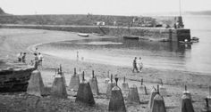 WORLD WAR II | Polkerris, Cornwall: Anti-tank bollards on the beach ✫ღ⊰n
