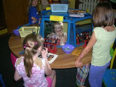 Fun make up station concept for kids theater playroom