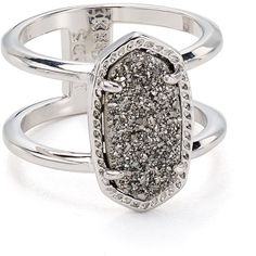 Kendra Scott Elyse Cocktail Ring ($70) ❤ liked on Polyvore featuring jewelry, rings, silver, kendra scott, kendra scott jewelry, drusy ring, druzy ring and drusy jewelry