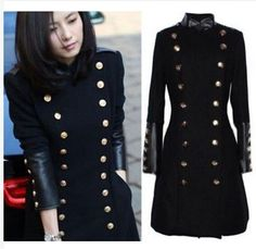 Womens Wool Blend Double Breasted Long Slim Fit Jackets Military Trench Coats…