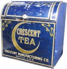 Lot: Crescent Tea Tin Store Bin, Lot Number: 1299, Starting Bid: $50, Auctioneer: Showtime Auction Services, Auction: Showtime Spring, 2013 Auction, Date: April 13th, 2013 EDT