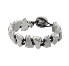 Silver and leather bracelet, by Spanish jewellery brand Uno de 50