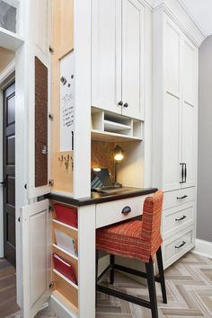 home office in the mudroom but could be great in the kitchen as well; clever use of cabinetry
