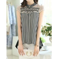 Stylish Flat Collar Short Sleeves Embroidered Striped Blouse For Women ($13) ❤ liked on Polyvore featuring tops, blouses, short sleeve blouse, short-sleeve blouse, embroidered top, stripe top and striped top