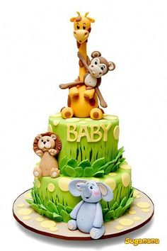 Dschungel-Thema-Babyparty - Several Easy Babyshower Game Ideas Babyshower games thoughts Torta Baby Shower, Baby Shower Pasta, Fiesta Baby Shower, Baby Shower Parties, Shower Baby, Safari Baby Shower Cake, Animal Theme Baby Shower, Jungle Theme Baby Shower, Jungle Theme Cakes