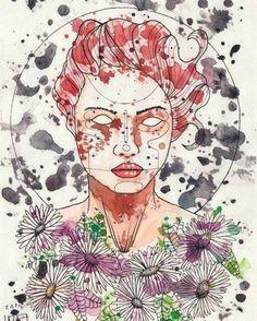 UGA UGA pintura a manchas de acuarela, retrato mujer.