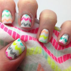 Neon Chevron nail art by Nicole